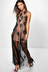 Boohoo Silvia High Neck Beaded Maxi Dress Black