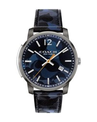 Coach 42Mm Bleecker Slim Men's Watch Blue Blue Pattern