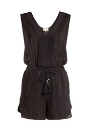 Zeus Dione Ione Textured Silk Playsuit Black