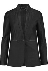 Rag And Bone Fern Leather Trimmed Quilted Twill Blazer Black