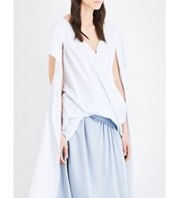 Sies Marjan Cross Over Elongated Cotton Shirt Baby Blue