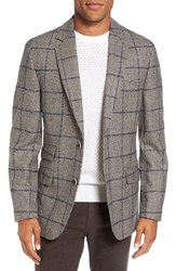 Flynt Men's Big And Tall Regular Fit Windowpane Plaid Wool Sport Coat Brown