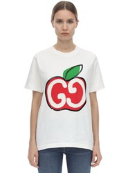 Gucci Embroidered Gg Apple Jersey T Shirt White