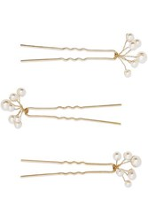 Jennifer Behr Primavera Set Of Three Gold Tone Swarovski Pearl Hair Pins One Size