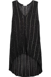 Brunello Cucinelli Sequined Embellished Open Knit Linen And Silk Blend Top Black