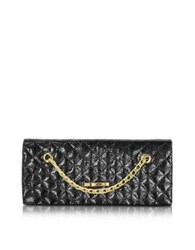 Love Moschino Evening Laminated Quilted Eco Leather Clutch Black