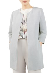 Jacques Vert Textured Occasion Overcoat Mid Grey