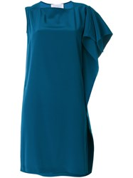 Gianluca Capannolo One Shoulder Dress Women Polyester Triacetate 42 Blue