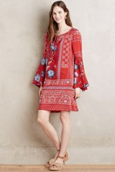 Vanessa Virginia Isabelle Silk Peasant Dress Red Motif