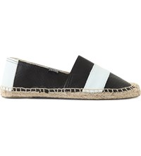 Soludos Barca Original Striped Leather Espadrilles Black White
