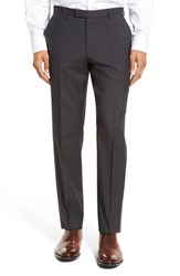 Boss Men's 'Leenon' Flat Front Houndstooth Wool Trousers Dark Grey