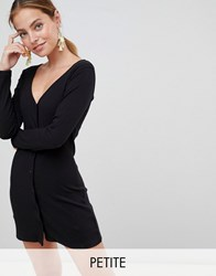 Missguided Petite Button Down Mini Dress Black