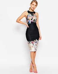 Asos Dark Based Floral Print Midi Pencil Dress Multi