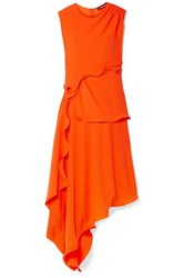 Sies Marjan Helena Asymmetric Ruffled Stretch Crepe Dress Bright Orange