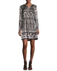 Calypso St Barth Talori Long Sleeve Print Silk Dress Snow Cc