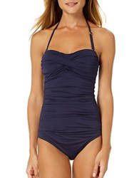 Anne Cole Live In Colortwist Shirred Halterneck One Piece Swimsuit