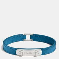 Coach Leather Swagger Bracelet Silver Peacock