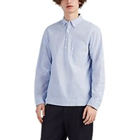 Alex Mill Striped Cotton Four Button Popover Shirt Blue