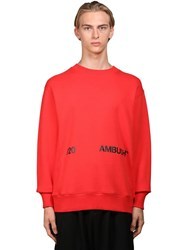 Ambush Logo Print Jersey Sweatshirt Red