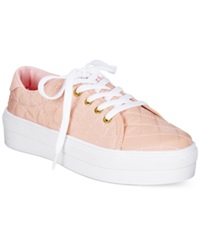 Wanted Monorail Lace Up Flatform Sneakers Women's Shoes Pink