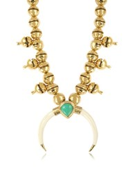 Aurelie Bidermann Navaho Gold Plated Horn And Turquoise Pendant Necklace