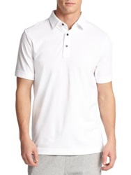 Saks Fifth Avenue Oxford Polo Shirt White Navy Black