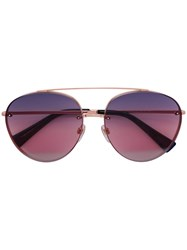 Valentino Eyewear Aviator Polarized Shaped Sunglasses Metallic