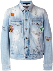 Just Cavalli Patch Embellished Denim Jacket Blue