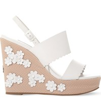 Dune Flower Embellished Leather Wedges White Leather