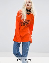 Reclaimed Vintage Inspired Long Sleeve Top With Rolling Stones Tour Print Orange