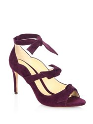 Alexandre Birman Charlotte Suede Tie Wrap Pumps Wine Berry Light Beige Black