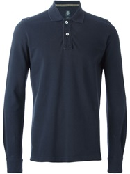 Eleventy Longsleeved Slim Fit Polo Shirt Blue