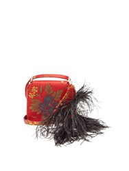 Marques Almeida Feather Strap Floral Jacquard Cross Body Bag Red Multi