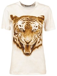 Balmain Tiger Print T Shirt Nude And Neutrals