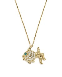 Bloomingdale's Blue And White Diamond Fish Pendant Necklace In 14K Yellow Gold 17 White Gold