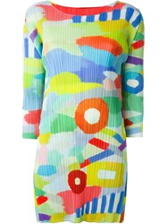 Pleats Please By Issey Miyake Pleated Printed Short Dress Multicolour
