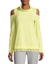 Nanette Lepore Play Cold Shoulder Twist Neck Top Bright Yellow