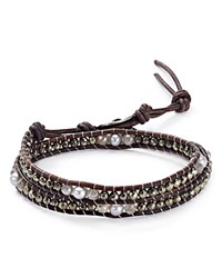 Chan Luu Cultured Freshwater Pearl Leather Wrap Bracelet Gray Mix