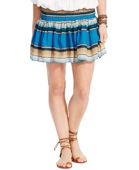 Denim And Supply Ralph Lauren Multi Stripe Smocked Mini Skirt