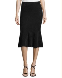 Grey Jason Wu Chenille Knit Flounce Skirt Black