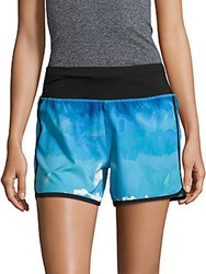 Andrew Marc New York Printed Pull On Shorts Cool Blue