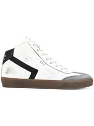 Leather Crown High Top Sneakers Cotton Suede Rubber White