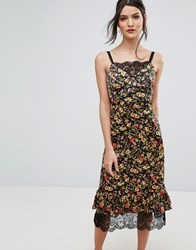 Warehouse Lace Hem Floral Midi Cami Dress Multi