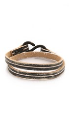 Cause And Effect 2 Tone Leather Double Wrap Bracelet Black White