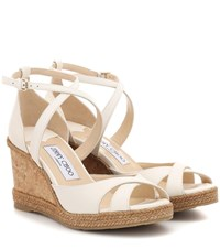 Jimmy Choo Alanah 80 Leather Wedge Sandals White