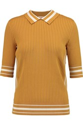 Tory Burch Ribbed Knit Cotton Blend Polo Shirt Yellow