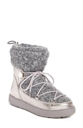 Moncler Women's Ynnaf Boiled Wool Lined Snow Boot Silver