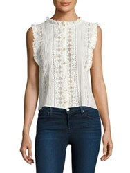 Rebecca Taylor Pleated Voile And Lace Top Milk