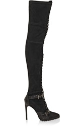 Emilio Pucci Suede And Ostrich Thigh Boots Black