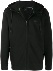 Hugo Boss Drawstring Zipped Hoodie Black